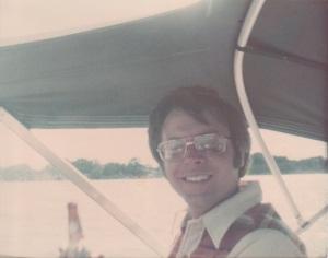 Tom Rozum in his boat (1976)